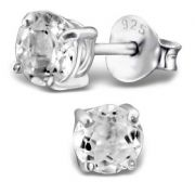 White Topaz  & Sterling Silver Stud Earrings